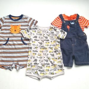 Carter's • baby boys rompers and overalls lot of 3